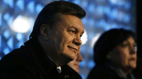 Ukrainian President Viktor Yanukovych watches the opening ceremony of the Sochi 2014 Winter Olympics at the Fisht Olympic Stadium on February 7, 2014 in Sochi, Russia.