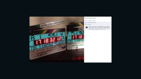 """Jones worked on the set of """"The Vampire Diaries"""" in Atlanta as a second camera assistant. Part of her job included marking the start of a take with a camera slate. Her co-workers shared this tribute in remembrance of her."""