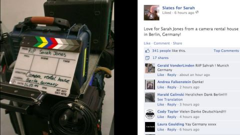 Within a day, the movement to honor Jones had spread beyond the United States. Workers at a camera rental house in Berlin were moved to share this photo tribute.