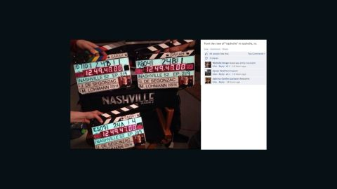 """Crew members from the set of the TV show """"Nashville"""" honor Jones. One of her duties as a camera assistant was to mark shots with a camera slate."""