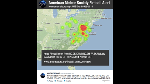A Twitter post by the American Meteor Society shows a heat map indicating the locations and frequency of sightings Thursday.