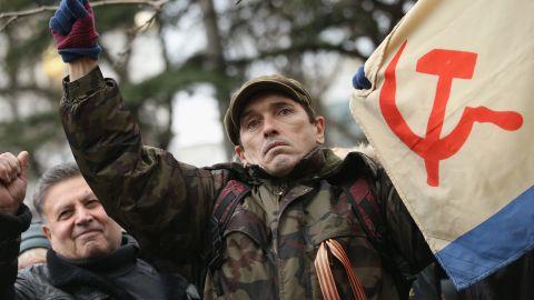 Pro-Russian supporters rally outside the Crimean parliament building on February 28, 2014 in Simferopol, Ukraine.