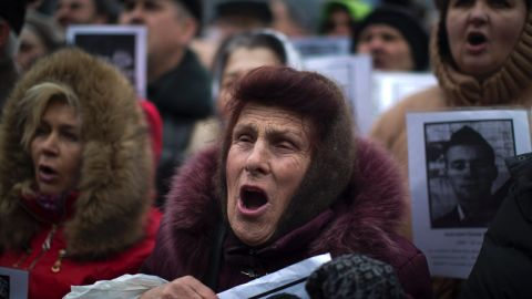 Demonstrators shout during a rally in Kiev's Independence Square on March 2.