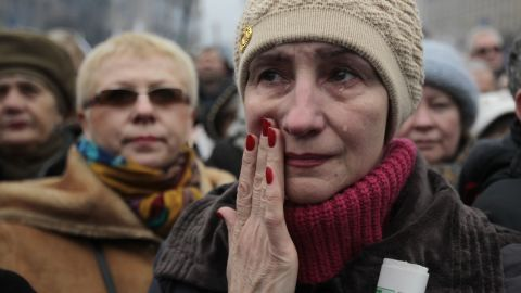 A woman cries during a rally in Independence Square on March 2.