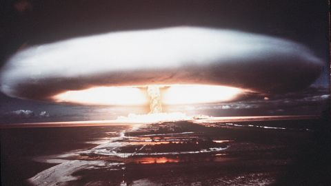 A picture taken in 1971 shows a nuclear explosion in Mururoa atoll.