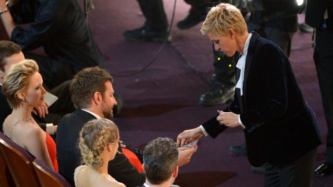 """DeGeneres gives Cooper scratch-off lottery tickets -- a """"consolation prize"""" because he didn't win the Oscar for best supporting actor."""