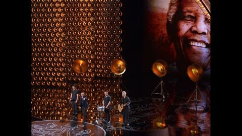 """U2 performs its Oscar-nominated song """"Ordinary Love"""" from the movie """"Mandela: Long Walk To Freedom."""""""