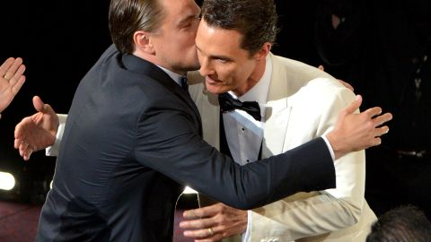 """Leonardo DiCaprio, left, congratulates Matthew McConaughey for winning the best actor Oscar for """"Dallas Buyers Club."""" DiCaprio, who starred in """"The Wolf of Wall Street,"""" was also up for the award."""