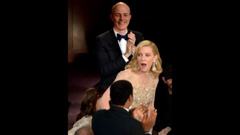 """Cate Blanchett reacts after winning best actress for her role in """"Blue Jasmine."""""""