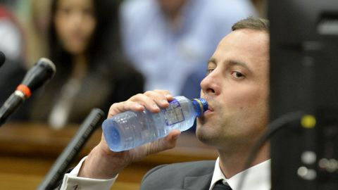 Pistorius takes a drink of water March 3 during his trial.