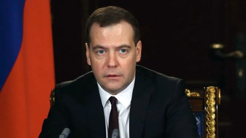 """Russia's Prime Minister  Dmitry Medvedev  speaks at meeting in the Gorki residence outside Moscow, on March 3, 2014. Ukraine's deposed president Viktor Yanukovych is still the legitimate head of state of the country even if his authority is """"negligible"""",  Medvedev said today."""