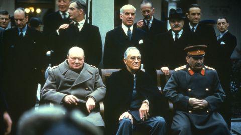 Winston Churchill, Franklin Delano Roosevelt and Joseph Stalin at the Yalta Conference, February 1945.