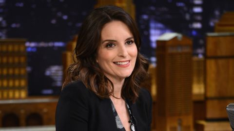 """Tina Fey shares a laugh with Jimmy Fallon on """"The Tonight Show"""" on March 3."""