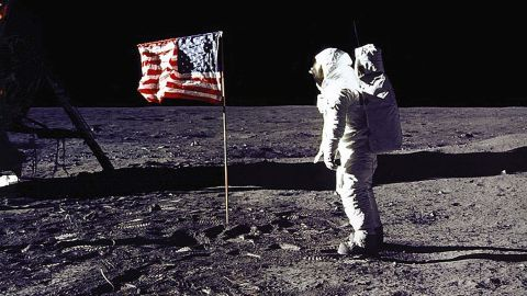 """Edwin """"Buzz"""" Aldrin, who was with Armstrong on Apollo 11, salutes the US flag on the lunar surface. Aldrin followed Armstrong and became the second man to walk on the moon."""