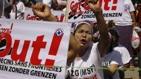 Protesters shout slogans against Medecins Sans Frontieres during a protest in Rakhine's state capital, Sittwe, last month.