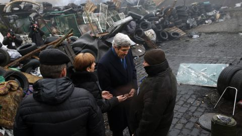 Kerry stands beside a barricade at the Shrine of the Fallen in Kiev, Ukraine, in March 2014. It was part of his trip to Europe in search of a diplomatic solution to the crisis in Ukraine.