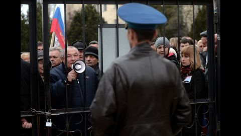 Pro-Russia protesters demonstrate outside the Belbek air base, near Sevastopol, on Thursday, March 6.