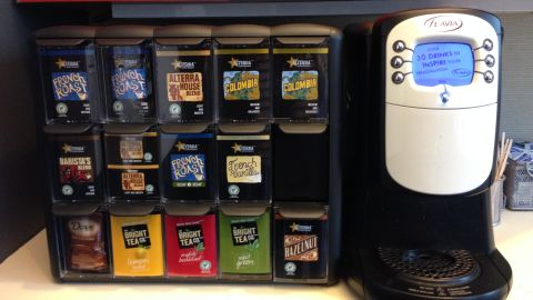 Other options: CNN has these fancy Flavia machines in New York. Here in Atlanta we drink from giant coffee urns that may or may not ever get cleaned.