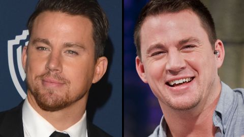 Channing Tatum sports a dab of facial hair at the 2014 Golden Globes in January, and a much smaller dab during a TV appearance in 2013.