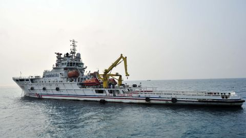 The rescue vessel sets out from Sanya in the South China Sea on March 9, 2014.