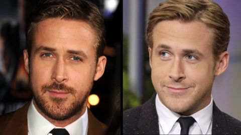 """Ryan Gosling arrives at the 2013 premiere of """"Gangster Squad"""" wearing some scruff and is beardless on the Tonight Show in 2011."""