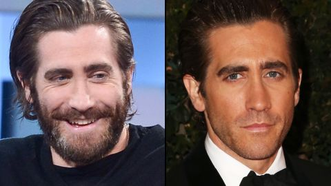 """Jake Gyllenhaal goes full """"Grizzly Adams"""" on """"George Stroumboulopoulos Tonight"""" in January. He wears a bit of 5 o'clock shadow at the Academy of Motion Picture Arts and Sciences' Governors Awards in November 2013."""
