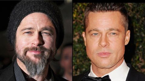 """Brad Pitt tries out a bohemian look, complete with beard, at the 2010 premiere of """"Kick-Ass"""" in London, but goes for a more military style for the 2014 Academy Of Motion Picture Arts And Sciences' Governor Awards."""