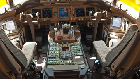 File photo: The cockpit of a Boeing 777F.