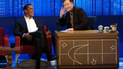 """Obama told then-""""Late Night"""" host Conan O'Brien that he was considering him as a running mate after O'Brien asked him about presidential plans during this May 2006 appearance."""