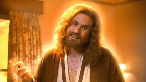"""Molly Shannon's 1999 comedy """"Superstar"""" isn't about religion or Jesus Christ, but Will Ferrell's portrayal of him in a dream sequence is infamous. When Ferrell's hippie, long-haired Jesus appears to Shannon's Mary Katherine Gallagher, they bond over her CD player."""