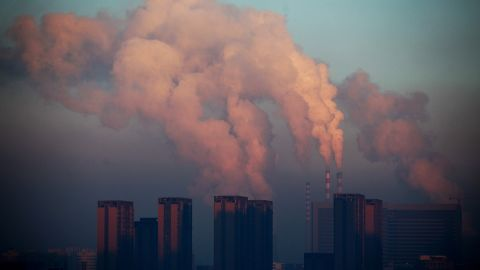 This picture taken on January 22, 2013 shows a thermal power plant discharging heavy smog into the air in Changchun, northeast China's Jilin province. China has cleaned up its air before but experts say that if it wants to avoid the kind of smog that choked the country this week, it must overhaul an economy fuelled by heavily polluting coal and car use. CHINA OUT AFP PHOTO (Photo credit should read STR/AFP/Getty Images)