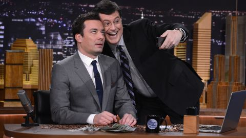 """Colbert faces a changed talk-show landscape. Jimmy Fallon, left, has gotten off to a fast start as new """"Tonight Show"""" host on NBC, and ABC's Jimmy Kimmel also has a strong fan base."""