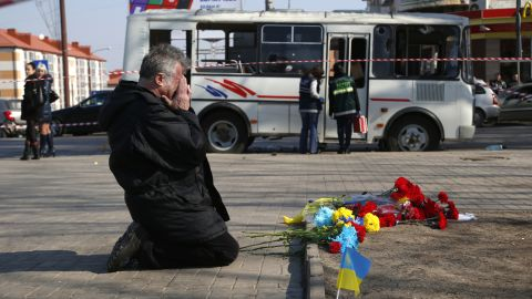 Evgenyi Batyukhov cries March 14 at the site where pro-Russian and pro-Ukrainian activists clashed the night before in Donetsk, Ukraine.