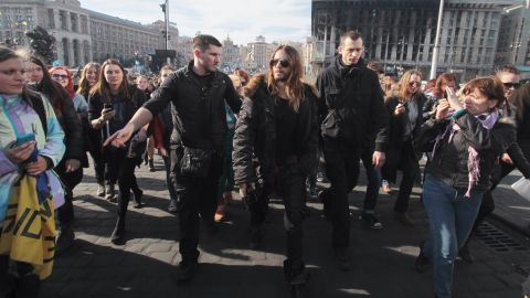 """Recent Academy Award winner Jared Leto walks through Independence Square in Kiev on March 13. During his Oscars acceptance speech in early March, the actor spoke to protesters in Ukraine and Venezuela saying, """"We're thinking of you tonight."""""""