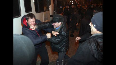 Pro-Russian supporters clash with pro-Ukrainian activists in Donetsk on March 13.