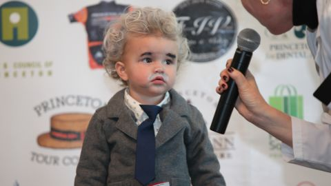 In Princeton, New Jersey, a child dresses up as Albert Einstein for Pi Day 2013.