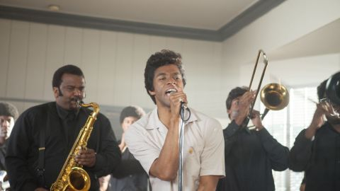"""The sizzling performance of Chadwick Boseman, center, as James Brown wasn't enough to make <strong>""""Get on Up"""" </strong>into a hit. It's grossed $29 million on a $30 million budget."""