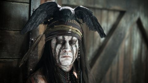 """Johnny Depp played Native American sidekick Tonto in the 2013 film  """"The Lone Ranger."""" He was criticized <a href=""""http://gawker.com/5906868/johnny-depps-tonto-is-based-on-a-white-mans-painting-of-an-imaginary-native-american"""" target=""""_blank"""" target=""""_blank"""">as soon as the image appeared.</a>"""