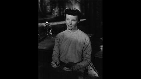 "Katharine Hepburn plays an Asian woman, Jade Tan, in the 1944 film ""Dragon Seed."""