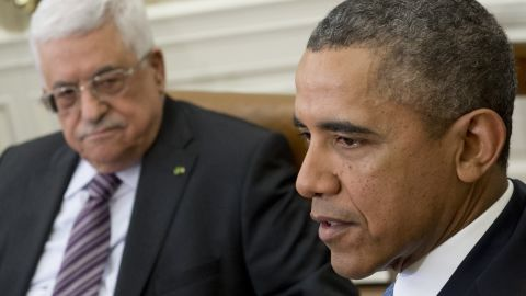 President Barack Obama and Palestinian President Mahmud Abbas discuss Middle East peace at the White House on Monday.