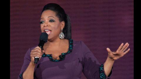 """Oprah Winfrey wears a L'Wren Scott dress in May 2011 for """"Surprise Oprah! A Farewell Spectacular."""""""