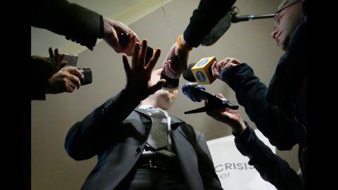 Former boxer and Ukrainian politician Vitali Klitschko addresses reporters in Kiev, Ukraine, on March 17.