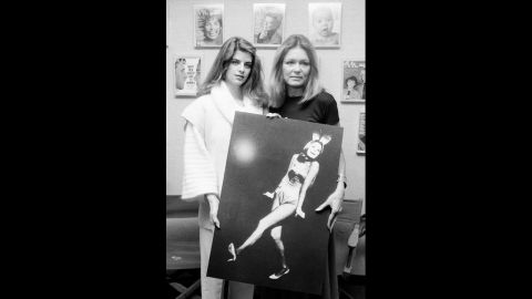 """Steinem, right, poses with actress Kirstie Alley at the Ms. magazine offices in 1984. Alley played Steinem in """"A Bunny's Tale,"""" a 1985 TV movie based on Steinem's experience going undercover to work as a Playboy bunny in 1963. After her undercover work, Steinem wrote an expose about the poor pay and working conditions."""