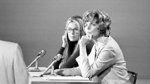 """Steinem, left, and Jill Ruckelshaus listen to a question during their appearance on NBC's """"Meet the Press"""" in Washington in 1972."""