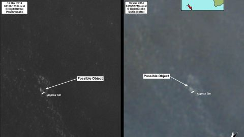 These images from Australian satellites show the objects spotted in the Indian Ocean.