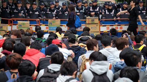 Hundreds of students sit during a demonstration in Taipei on Thursday, March 20.