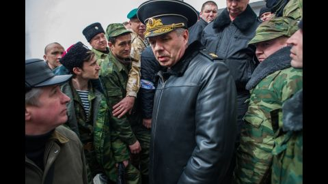 Alexander Vitko, chief of the Russian Black Sea Fleet, leaves the Ukrainian navy headquarters in Sevastopol after pro-Russian forces took it over on March 19.