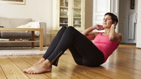 Crunches do tone a small portion of your abs, but you may get better results from moves engaging your entire core.