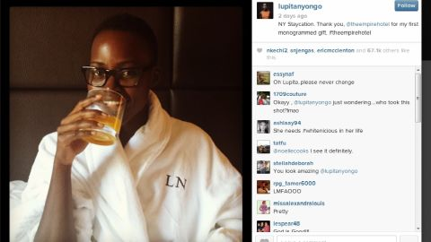 Actress Lupita Nyong'o posted a photo of herself without makeup lounging in a New York hotel in March 2014.