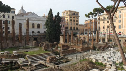 <strong>Theatre of Pompey (Rome):</strong> Up to 60 senators were involved in Julius Caesar's assassination plot in 44 BC. He was stabbed 23 times in a senate room just off the porticoes of the Theatre of Pompey. The site is now buried several meters beneath the Teatro Argentina, the white building at the back of this photograph.